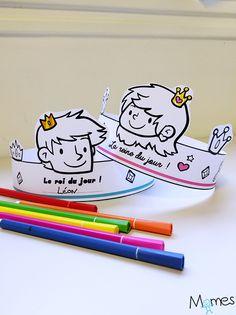 Voici deux jolies couronnes de galette des rois à imprimer pour l'épiphanie, on peut aussi les colorier si on le souhaite !
