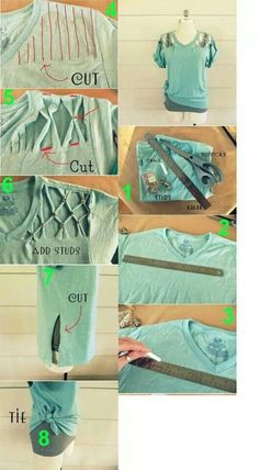 DIY Cut Up T-shirt w/Studs ~ a great way to up-cycle your t-shirts!