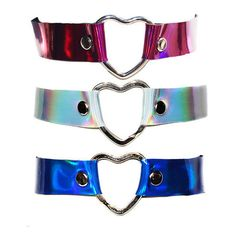 Holographic Heart Chokers- More Colors ($12) ❤ liked on Polyvore featuring jewelry, necklaces, choker, choker necklace, leather choker necklace, heart choker, heart jewelry and heart jewellery