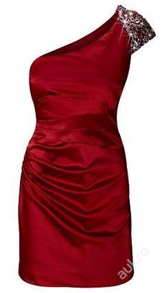 Červené šaty na 1 zdobené ramínko, v. 44/L