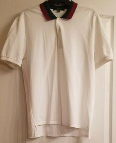 6a1359b90c3 GUCCI AUTHENTIC Mens White Web Logo Polo Shirt Size M (Pro Tailored)   fashion