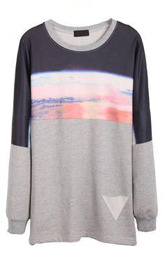 Grey Long Sleeve Galaxy Print Loose Sweatshirt