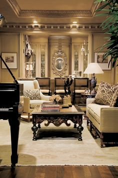 i like the flow of this.... grand piano in the living area, leading into the dining room... gracious living