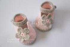 Crochet baby scarpe, scarpette per neonati, Mary Janes, abbronzatura, peachy rosa, foto prop, 0-3 mesi, baby shower regalo, idea regalo