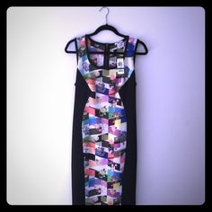 NWT BAR III Midi Party Dress Black/Collage Print Brand new with tags! Excellent condition. The perfect party dress which fits sizes 10-14 - I am a size 12/14 hour glass shape (36D). Don't miss this deal! Originally $100! My loss is your gain! To earn Holiday $$ I'm liquidating my reserves of high-fashion clothing from ASOS/Nasty Gal/More! Please follow as more and more will be listed. Unfortunately - my bottom line is $63 so I keep $50. (Nearly $40 off retail!) Bar III Dresses Midi