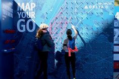 Delta invited runners to map their routes with string on a large map of Manhattan. Photo: Courtesy of Delta
