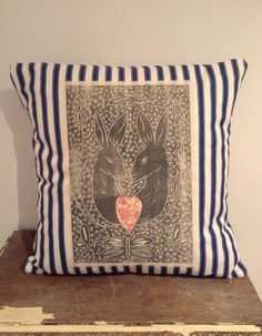Hand printed hare cushion, striped cushion