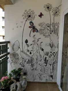 WIld flowers removable wallpaper - Garden flowers wall mural, Watercolor, Bright wallpaper, Colorful wall decor, Wall decals 89 An entry from A Turtle's Salon du The Helle Wallpaper, Bright Wallpaper, Walled Garden, Diy Décoration, Easy Diy, Mural Art, Wall Mural Decals, Wall Stickers, Wall Colors
