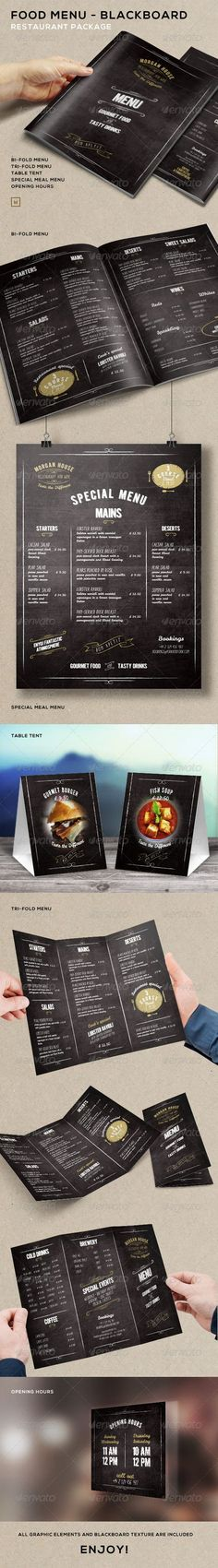 Buy Food Menu - BlackBoard Restaurant Package by marnica on GraphicRiver. Food Menu – BlackBoard Restaurant Package Easy edit the colours and layout, with few click Bi-fold Menu Tri-fo. Menu Restaurant, Menu Bar, Restaurant Design, Web Design, Cafe Design, Speisenkarten Designs, Food Menu Template, Menu Layout, Food Menu Design