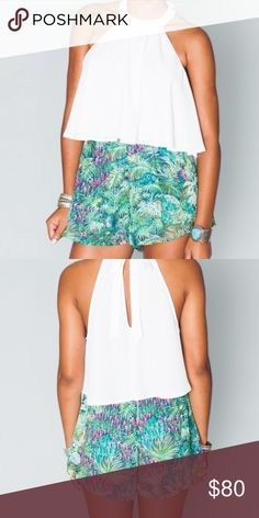 NWT SHOW ME YOUR MUMU SAWYER SHORT~RAINFOREST CAFÉ Ready for a little wild life? Rainforest Café has all the fun greens and pinks you want to draw all kind of attention. Go ahead and wear pewter and silver with her or gold and bronze - she's cool with both. Such a wild one! Sawyer Short is exactly who you want to get marooned on an island with. High enough to pair with a crop (matchy if you're feelin it), can be worn with a bikini top on any beach, or throw on a mellow tank to be cozy comfy…