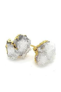 """Stones measure about 1/2"""". ### So cool ! Natural raw crystal clusters set on gold tone posts with butterfly clutches. You may find…"""