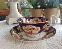 Royal Albert Heirloom Teacup and Saucer Set, Cobalt, Imari
