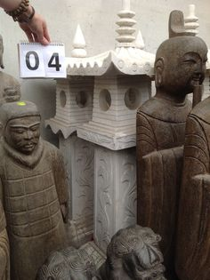 Pair of hand carved marble pagoda lanterns from Beijing, China