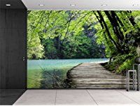 Wall26® - Bridge by a Lake Surrounded by Trees - Wall Mural, Removable Sticker, Home Decor - 100x144 inches