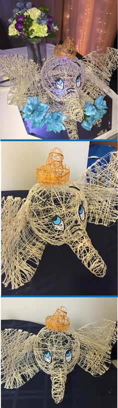 Unique Disney Wedding Centerpieces. DIY Disney characters made out of string. Dumbo table! Could also be great for Disney themed birthday. Made by @JacquelineFoss