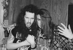 young Dimebag Darrell and Phil Anselmo Heavy Metal Art, Heavy Metal Bands, Pantera Band, Sean Harris, Best Crossover, Best Guitar Players, Dimebag Darrell, Mike Patton, Beard Lover
