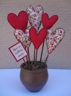 Coração feltro / tecido decoração centro de mesa
