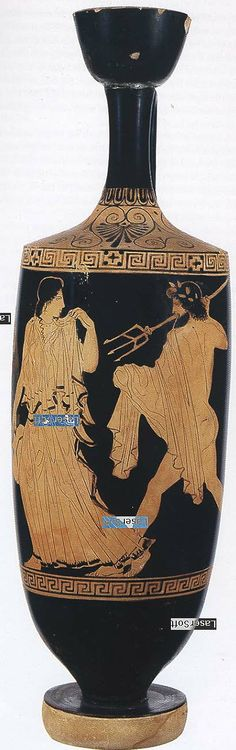 Lekythos with Amymone and Poseidon Artist: the Phiale Painter Date: ca 430 BCE Provenance: Ancona, Italy Location: New York, Metropolitan Museum of Art Rogers Fund, 1917; inventory number 17.230.35 Material and Dimensions: Attic, clay, H 45.1 cm, diameter 13.6 cm