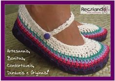 ... Recriando Artes Manuais ...: Sapatilha colorida