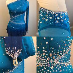 Custom figure skating dress that features specialty Swarovski crystals and dip dye.  Let us help you make your next favorite dress ! Www.KelleyMatthewsDesigns.com
