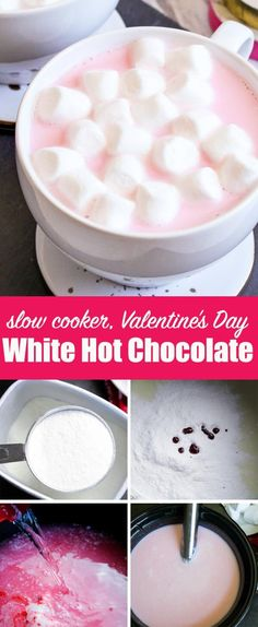 Get cozy on Valentine's Day with this pink White Hot Chocolate that you can make quickly and easily in your slow cooker! Jazz up a hot chocolate mix t. Crockpot Hot Chocolate, Hot Chocolate Bars, Hot Chocolate Recipes, Pink Snacks, Cherry Desserts, Valentines Day Food, Valentine Ideas, Yummy Drinks, Pink White