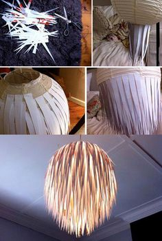 Sort of outdoorsy in a very modern way. DIY lamp-paper strips