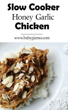 How to make EASY Slow Cooker Honey Garlic Chicken. #crockpot #slowcooker #dinner