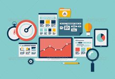 Website SEO and Analytics Illustration - Computers Technology