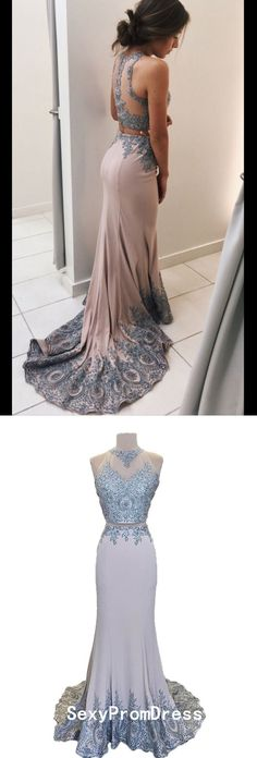 Two Piece Prom Dresses Scoop Mermaid Sweep Train Tight Long Sexy Prom Dress