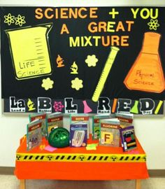 science classroom decorating ideas   Science Themed Reading and Library Bulletin Board Idea