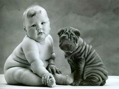 They look the same! Fat baby and Fat puppy