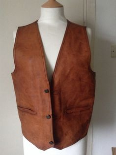 Men's Tan Leather Waistcoat with inside pocket by MonaBellsVintage Vintage Clothing, Vintage Outfits, Beard Ideas, Tan Leather, Vest, Pocket, Trending Outfits, Inspiration, Clothes