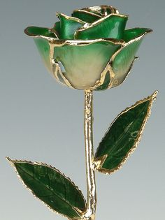 2-Tone Dark Green 24k Gold Rose by Living Gold   by LivingGoldCo