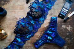 Blue Lingerie Lace Undies Cheeky Bikini Panties by Allechanto