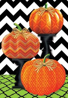 Custom Decor Flag   Pumpkins On Pedestals Decorative Flag At Garden House  Flags At GardenHouseFlags