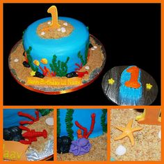 ocean cake, I love the blue! This ties beach and undersea together perfectly!