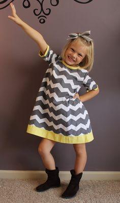 Gray & White Chevron Aline Short Sleeved Dress by HandmadeByLoloZ, $25.00