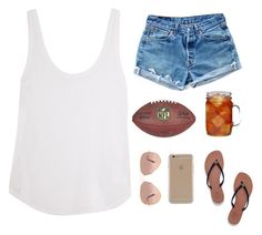 """""""friday night football"""" by mamiejane ❤ liked on Polyvore featuring Frame Denim, Levi's, Agent 18, Ball, Tory Burch and Ray-Ban"""