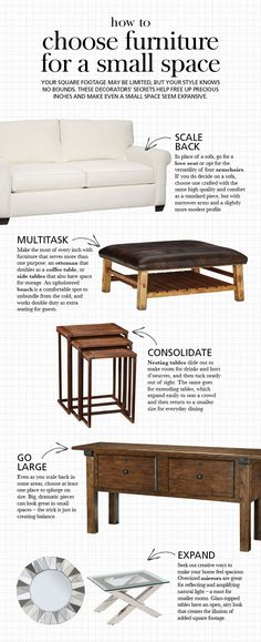 Small space living room furniture tips pottery barn Small Space Living Room, Small Room Design, Furniture For Small Spaces, Living Room Sofa, Small Rooms, Apartment Living, Home Furniture, Apartment Therapy, Coffee Table For Small Space