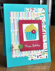SU! Create a Cupcake stamp set (sentiment) and Cupcake Builder punch; Birthday Basics DSP; Summer Starfruit DSP (2012-2014 In Color paper stack); colors are Bermuda Bay, Raspberry Ripple, Gumball Green and Very Vanilla - Beth Alexander