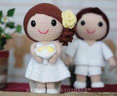 "Noivinhos de crochê para topo de bolo. - ""Crochê da Mimi"""