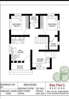 One Floor House Plans, 20x30 House Plans, 2bhk House Plan, Bungalow Floor Plans, Free House Plans, Model House Plan, Simple House Plans, House Layout Plans, Home Design Floor Plans