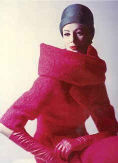 1956, red coat dress by Givenchy boucle high standing collar mid 50s gloves color photo print ad model magazine vintage fashion style designer couture