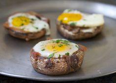 Paleo baked eggs in prosciutto-filled portobello mushroom caps. Paleo breakfast recipe, gluten-free, grain-free, dairy free.