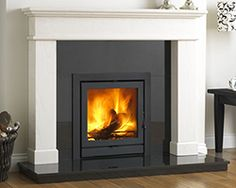 Buy Online: The Balmoral Limestone Fireplace Surround Stone Tile Fireplace, Wood Burner Fireplace, Marble Fireplaces, Fireplace Surrounds, Fireplace Mantels, Fireplace Ideas, Fireplace Redo, Inset Log Burners, Inset Stoves