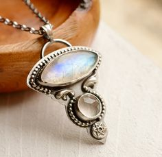 Rainbow Moonstone and Clear Quartz Necklace by EONDesignJewelry