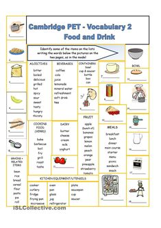 food and drinks vocabulary: Cambridge PET Vocabulary 2 – Food and Drink – Pin's Page English Grammar, Teaching English, Learn English, English Language, English Tips, English Lessons, English Vocabulary, Cambridge Pet, Cambridge English