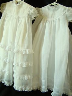 Beautiful Vintage Organdy Christening Gown with Slip Twins