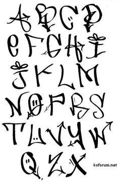 Tag Graffiti Style Alphabets Look Cool Tags Alphabet Letters A Through Z In Black And White
