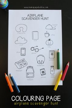 Want to keep your little ones happily engaged on your next flight? Print off this colouring page airplane scavenger hunt! Kids Travel Activities, Airplane Activities, Airplane Games For Kids, Toddler Travel, Travel With Kids, Family Travel, Disney Vacations, Disney Trips, Vacation Trips